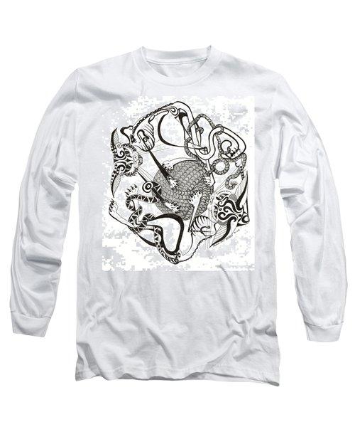 Hexagon Cats Long Sleeve T-Shirt by Melinda Dare Benfield