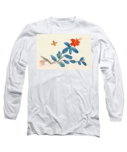 Hibiscus With Butterfly Long Sleeve T-Shirt