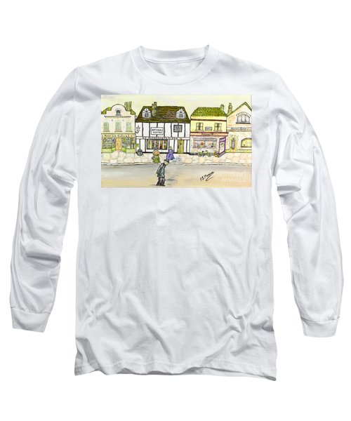 Long Sleeve T-Shirt featuring the painting High Street by Loredana Messina