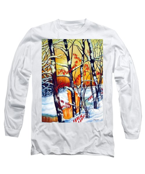 Long Sleeve T-Shirt featuring the painting Highland Creek Sunset 2  by Inese Poga