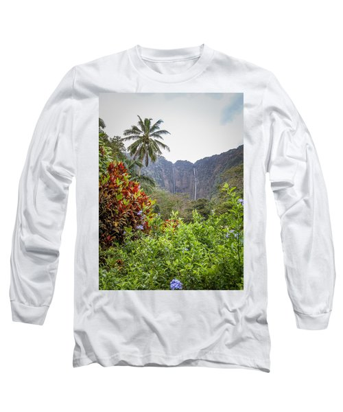 Hiilawe And Hakalaoa Falls Long Sleeve T-Shirt by Denise Bird