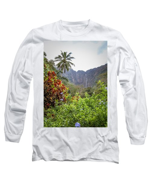 Hiilawe And Hakalaoa Falls Long Sleeve T-Shirt