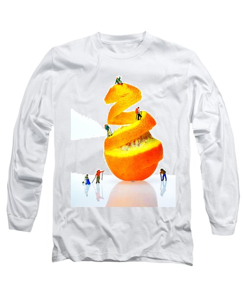 Hikers Climbing Orange Mountain Long Sleeve T-Shirt