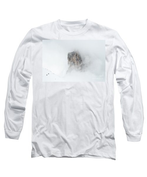 Hiking The Tre Cime In Winter Long Sleeve T-Shirt by IPics Photography