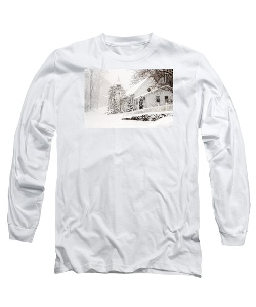 Long Sleeve T-Shirt featuring the photograph Historic Church In Oella Maryland During A Blizzard by Vizual Studio