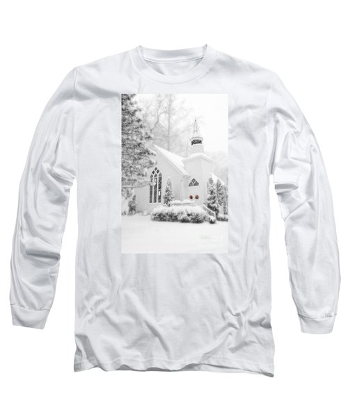 Long Sleeve T-Shirt featuring the photograph White Christmas In Oella Maryland Usa by Vizual Studio