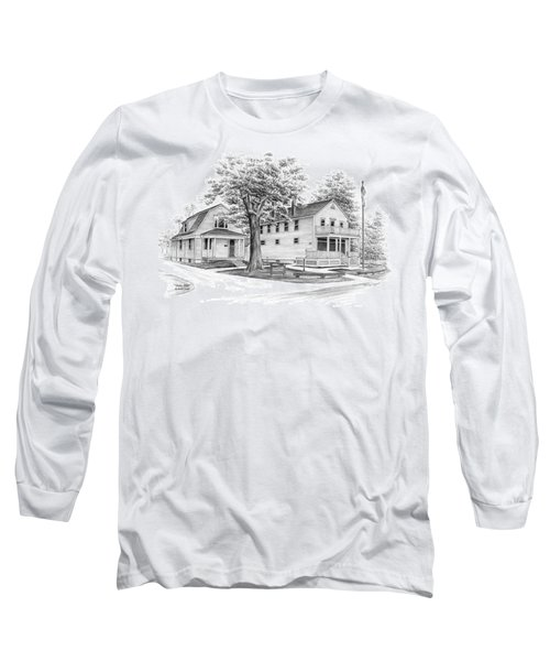 Long Sleeve T-Shirt featuring the drawing Historic Jaite Mill - Cuyahoga Valley National Park by Kelli Swan