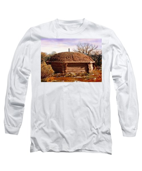 Hogan Monument Valley Winter Painting Long Sleeve T-Shirt by Bob and Nadine Johnston