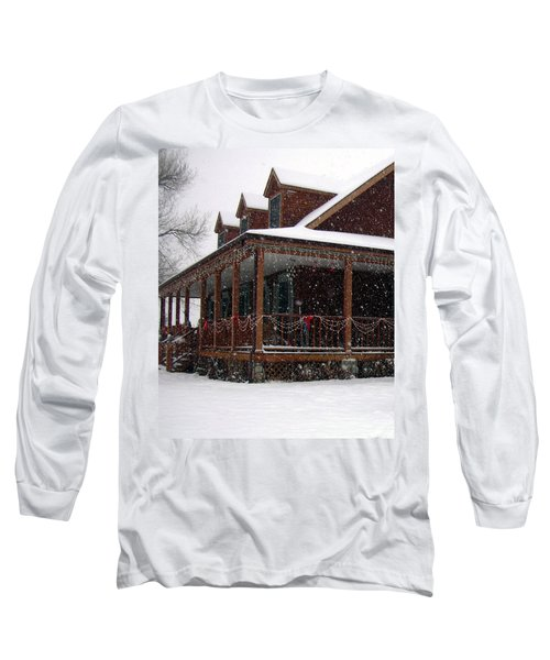 Holiday Porch Long Sleeve T-Shirt by Claudia Goodell