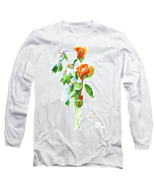 Long Sleeve T-Shirt featuring the painting Holly With Red Roses In A Vase by Kip DeVore