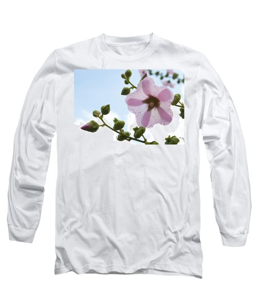 Hollyhock With Raindrops Long Sleeve T-Shirt by Lana Enderle