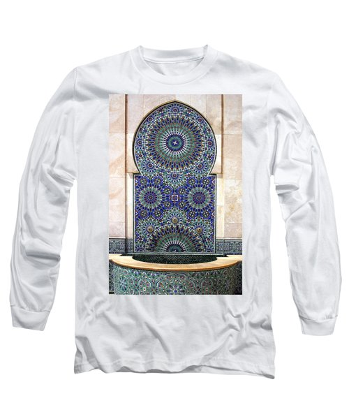 Holy Water Fountain Hassan II Mosque Sour Jdid Casablanca Morocco  Long Sleeve T-Shirt