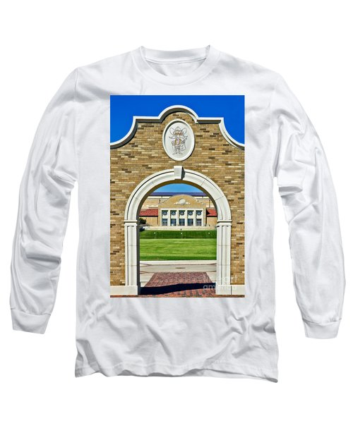 Long Sleeve T-Shirt featuring the photograph Homecoming Bonfire Arch by Mae Wertz