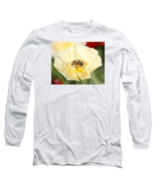 Honeybee On Cream Poppy Long Sleeve T-Shirt by Lucinda VanVleck