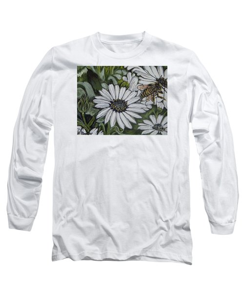 Honeybee Taking The Time To Stop And Enjoy The Daisies Long Sleeve T-Shirt by Kimberlee Baxter
