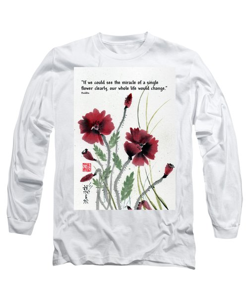 Long Sleeve T-Shirt featuring the painting Honor With Buddha Quote I by Bill Searle