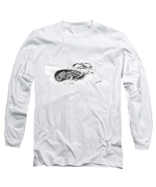 Long Sleeve T-Shirt featuring the drawing Hoof Prints by Marianne NANA Betts