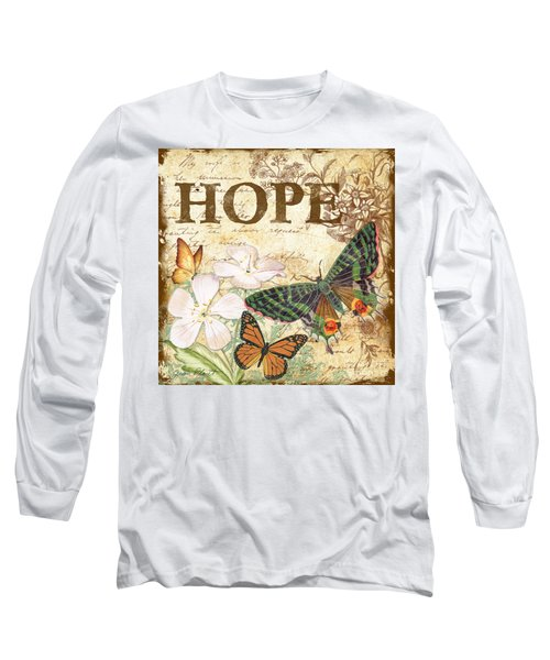 Hope And Butterflies Long Sleeve T-Shirt by Jean Plout