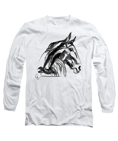 Horse- Apple -digi - Black And White Long Sleeve T-Shirt by Go Van Kampen