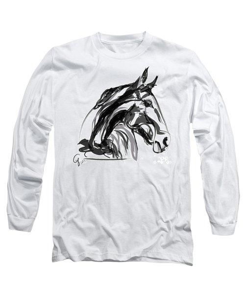 Horse- Apple -digi - Black And White Long Sleeve T-Shirt