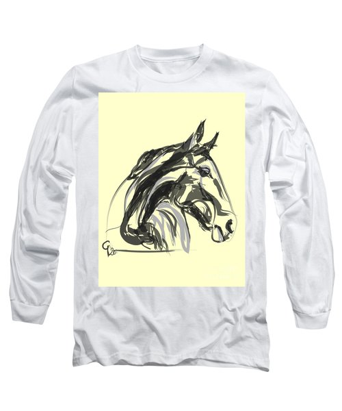 Long Sleeve T-Shirt featuring the painting horse - Apple digital by Go Van Kampen