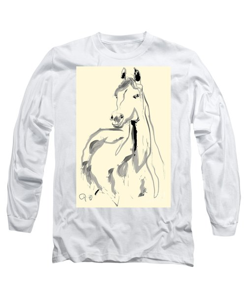 Long Sleeve T-Shirt featuring the painting Horse - Arab by Go Van Kampen