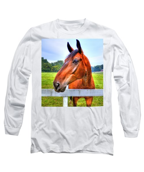 Horse Closeup Long Sleeve T-Shirt by Jonny D