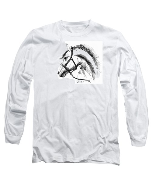 Horse Face Ink Sketch Drawing Long Sleeve T-Shirt