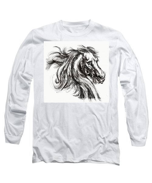 Horse Face Ink Sketch Drawing - Inventing A Horse Long Sleeve T-Shirt