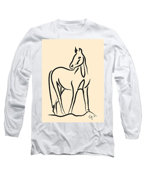 Long Sleeve T-Shirt featuring the painting Horse - Grace by Go Van Kampen