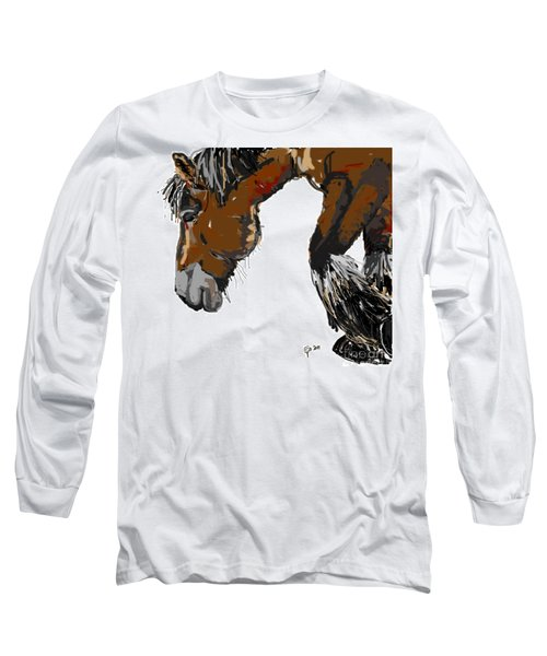 Long Sleeve T-Shirt featuring the painting horse - Guus by Go Van Kampen