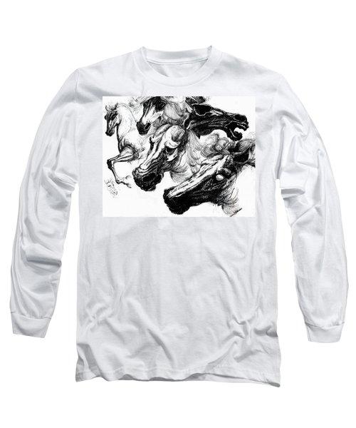 Horse Ink Drawing  Long Sleeve T-Shirt
