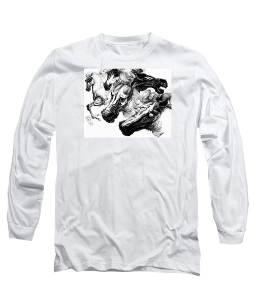 Horse Ink Drawing  Long Sleeve T-Shirt