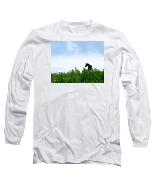 Long Sleeve T-Shirt featuring the photograph Horse On The Hill by Joan Davis