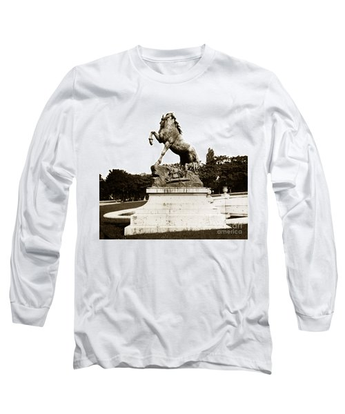 Long Sleeve T-Shirt featuring the photograph Horse Sculpture Trocadero  Paris France 1900 Historical Photos by California Views Mr Pat Hathaway Archives