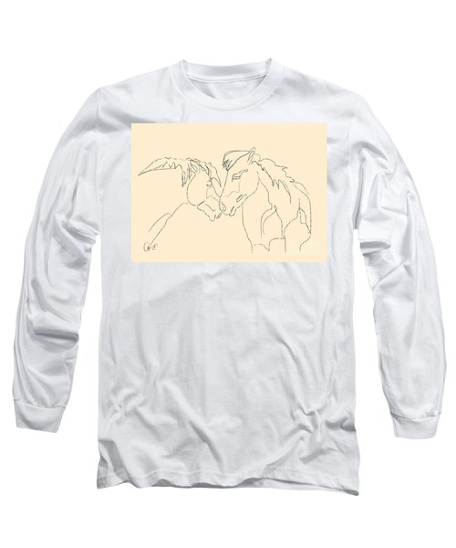 Long Sleeve T-Shirt featuring the painting Horse - Together 3 by Go Van Kampen