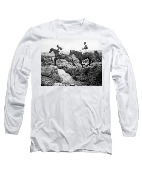 Horses Jumping A Creek Long Sleeve T-Shirt