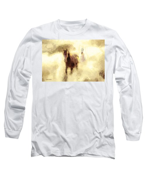 Long Sleeve T-Shirt featuring the painting Horses Of The Mist by Greg Collins