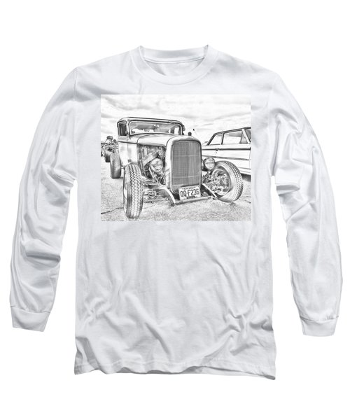 Hot Rod Faux Sketch Long Sleeve T-Shirt