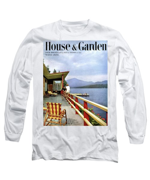 House & Garden Cover Of Women Sitting On The Deck Long Sleeve T-Shirt