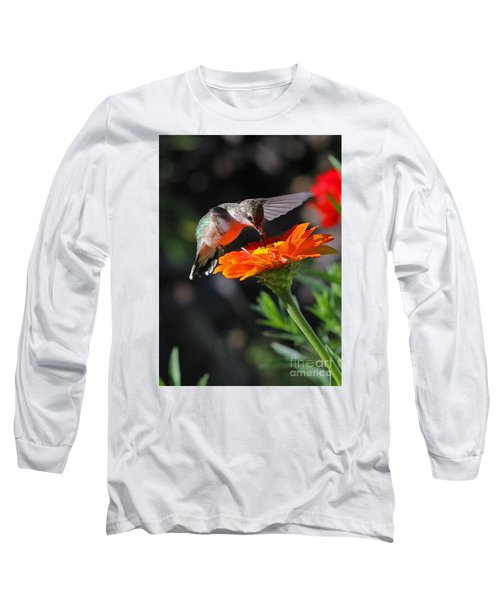 Long Sleeve T-Shirt featuring the photograph Hummingbird And Zinnia by Steve Augustin