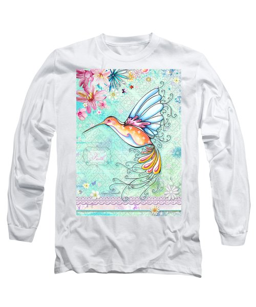 Hummingbird Inspirational Floral Painting Art Quote Faith By Megan Duncanson Long Sleeve T-Shirt