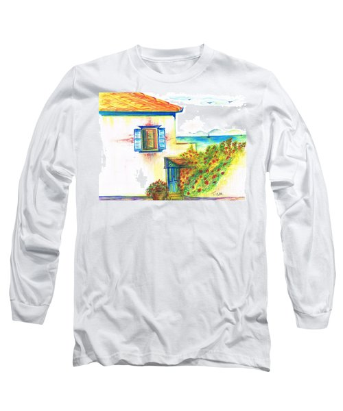 Long Sleeve T-Shirt featuring the painting Greek Island Hydra- Home by Teresa White