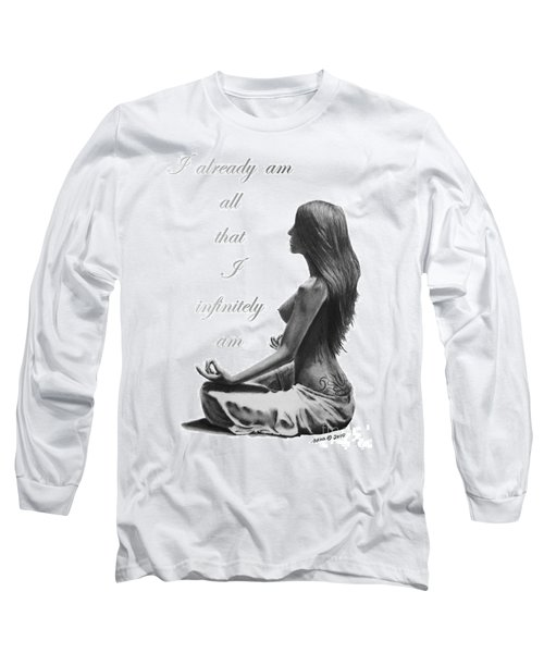 Long Sleeve T-Shirt featuring the drawing I Am by Marianne NANA Betts