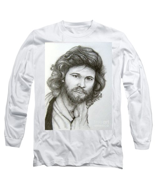 Long Sleeve T-Shirt featuring the drawing Barry Gibb by Patrice Torrillo
