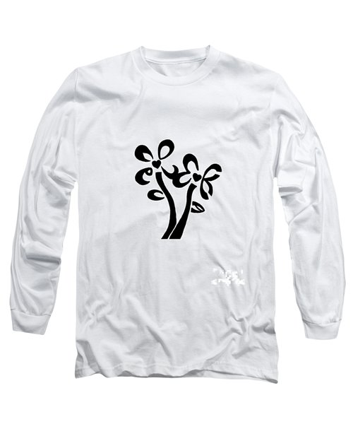 Long Sleeve T-Shirt featuring the drawing I Love You Flowers by Tamir Barkan