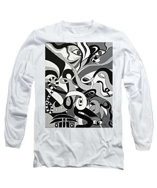 Black And White Acrylic Painting Original Abstract Artwork Eye Art  Long Sleeve T-Shirt