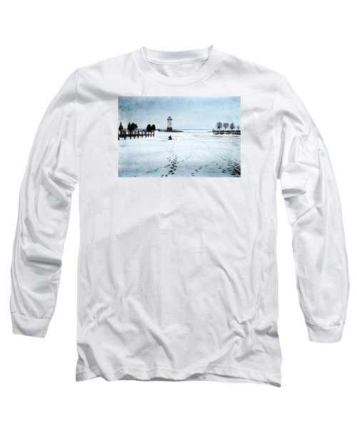 Long Sleeve T-Shirt featuring the photograph Ice Fishing Solitude 2 by Janice Adomeit