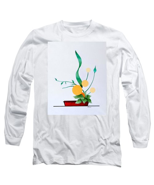 Long Sleeve T-Shirt featuring the painting Ikebana #1 Red Pot by Thomas Gronowski