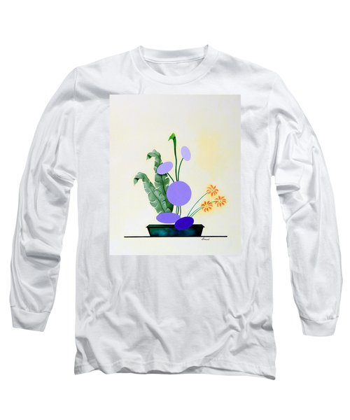 Long Sleeve T-Shirt featuring the painting Ikebana #2 Green Pot by Thomas Gronowski
